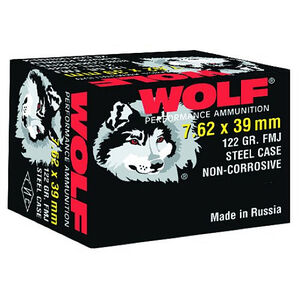 Wolf Performance 7.62x39 Ammunition 123 Grain Bi-Metal FMJ Steel Case 2362 fps