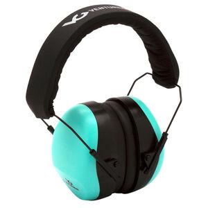Pyramex VG80 Series Earmuff 25dB Noise Reduction Rating Adjustable Headband Black/Teal Accents