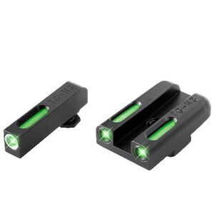 TruGlo TFX Standard Height S&W M&P/Shield/SD Series Front/Rear Day/Night Sight Set Green Tritium 3-Dot Configuration Front White Focus Lock Ring Square Cut Rear Notch Steel Black