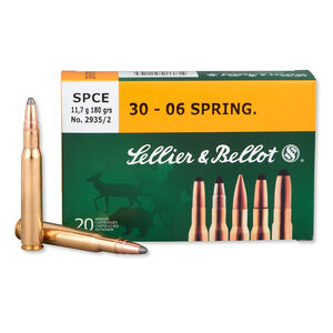 Sellier & Bellot .30-06 Springfield Ammunition 20 Rounds 180 Grain Soft Point Cutting Edge Projectile 2,648fps