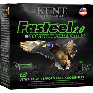 "Kent Cartridge Fasteel 2.0 Waterfowl 12 Gauge Ammunition 250 Rounds 3-1/2"" Shell BB Zinc-Plated Steel Shot 1-1/4oz 1625fps"