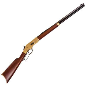 "Cimarron 1866 Yellowboy Lever Action Short Rifle .45 LC 24"" Barrel 12 Rounds Brass Receiver Walnut Stock Blued CA229"
