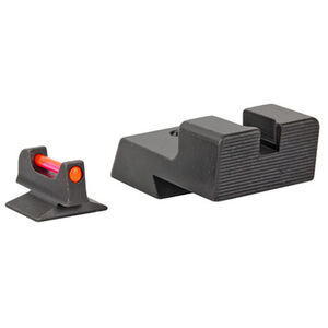 Trijicon Fiber Optic Sight Set Fits 1911 Novak Low Cut Models Red Fiber Front/Blacked Out Rear Steel Housing Matte Black Finish