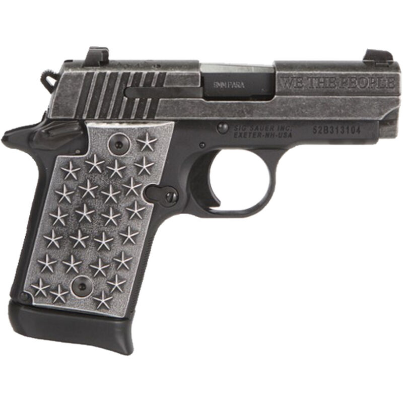 """SIG Sauer P938 'We The People' 9mm Luger Semi Auto Handgun 3"""" Barrel 7 Rounds Star Embossed Aluminum Grips Distressed/Black Anodized Finish"""