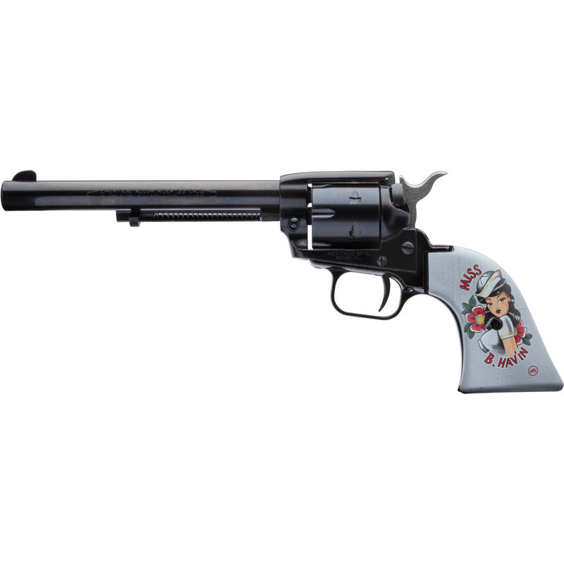 "Heritage Rough Rider Pin Up Girls .22 LR Single Action Rimfire Revolver 6.5"" Barrel 6 Rounds TALO Exclusive Miss B Hav'in Synthetic Grips Blued"