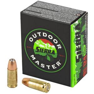 Sierra Outdoor Master 9mm Luger Ammunition 124 Grain Sports Master JHP Projectile 1090 fps