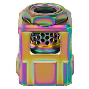 Chaos Gear Supply Official Qube Compensator 9mm Luger 1/2x28 Thread Pitch 17-4H900 Stainless Steel Rainbow PVD Finish