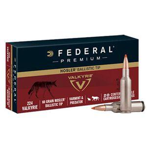 Federal Premium V-Shok .224 Valkyrie Ammunition 20 Rounds 60 Grain Nosler Ballistic Tip Projectile 3300fps