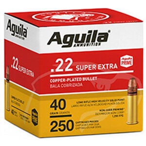 Aguila Super Extra .22 LR Ammunition 40 Grain Copper Plated Solid Point 1255ps 250 Rounds