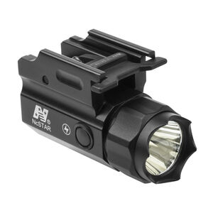 NcSTAR LED Compact Flashlight 150 Lumen 1x CR2 Battery CREE LED Push Button Rubber Switch QR Picatinny Rail Mount With Strobe Polymer Body Black