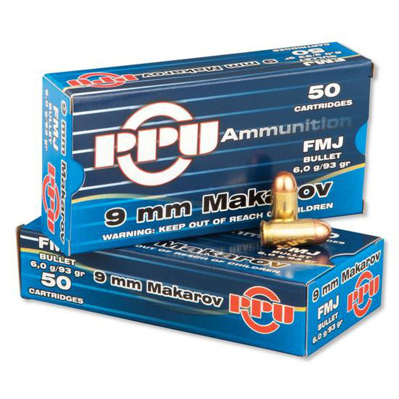 Prvi Partizan PPU 9x18 Makarov Ammunition 50 Rounds 93 Grain Full Metal Jacket 1049fps
