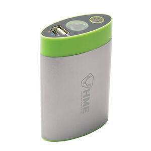 Hunting Made Easy Hand Warmer with Flashlight and Charger Silver and Green