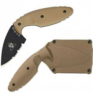 "Ka-Bar Knife TDI Law Enforcement Fixed 2.31"" Combo Partially Serrated Drop Point Black AUS8A Stainless Steel Blade Zytel Scales Coyote Brown Hard Plastic Sheath 1477CB"
