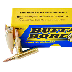 Buffalo Bore .243 Winchester Ammunition 20 Rounds FMJBT 90 Grains