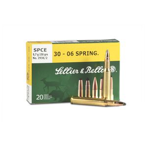 Sellier & Bellot .30-06 Springfield Ammunition 20 Rounds 150 Grain Soft Point Cutting Edge Projectile 2,887fps