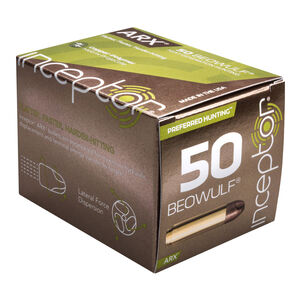 Inceptor Preferred Hunting .50 Beowulf Ammunition 20 Rounds 200 Grain ARX Frangible Lead-Free Cu/P Projectile 2500fps