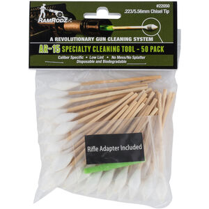 """RamRodz Chisel Tip Specialty Cleaning Tool .223 REM / 5.56 NATO AR-15 Cotton/Bamboo 3"""" 50 Pack"""