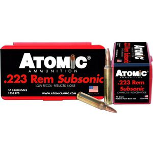Atomic Ammunition .223 Rem. Subsonic Hollow Point Boat Tail, 77 Grain,  1050 fps, 50 Round Box, A00429