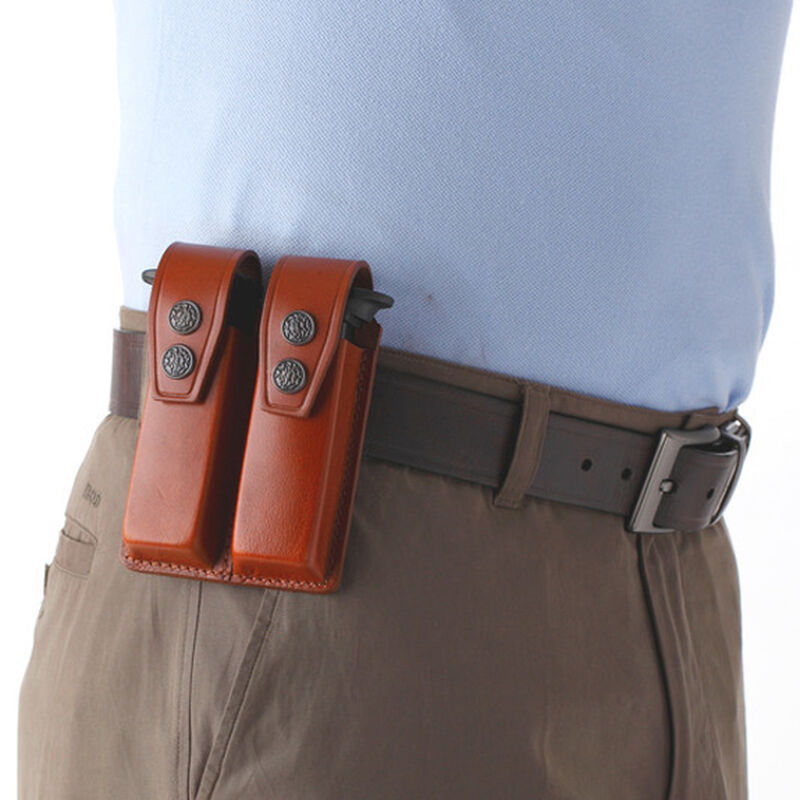 """JBP Double Magazine Case  Brown Leather 2"""" Belt Loops for GLOCK Style Magazines"""