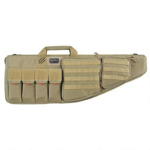 "G-Outdoors G.P.S. Tactical Rifle Case 42"" With External Handgun Case 1000 Denier Heavy Duty Material DuPoint Teflon Coated Tan Finish"