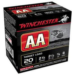 "Winchester AA Target 20 Ga 2.75"" #8 Lead .875oz 25 rds"
