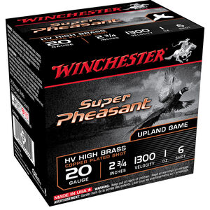 "Winchester Super Pheasant HV High Brass 20 Gauge Ammunition 25 Round Box 2-3/4"" #6 Copper Plated Lead Shot 1 oz 1300 fps"
