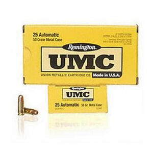 Remington .25 ACP UMC Ammunition 50 Rounds FMJ 50 Grains