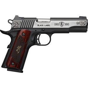 """Browning 1911-380 Black Label Medallion Engraved Compact .380 ACP Semi Auto Pistol 3.625"""" Barrel 8 Rounds Engraved Slide and Wood Grips Polymer Frame Two Tone Stainless/Black Finish"""