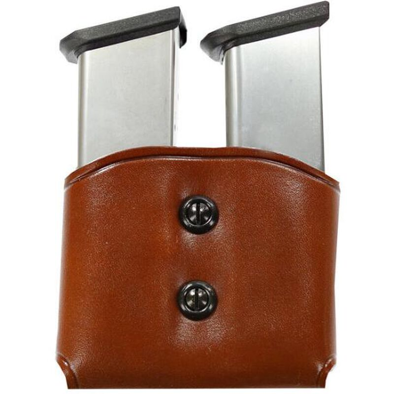 Galco DMC Double Magazine Carrier Single Stack .45ACP/10mm Ambidextrous Leather Havana Brown DMC26H