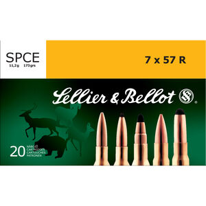 Sellier & Bellot 7x57R Ammunition 20 Rounds 173 Grain Soft Point Cutting Edge Projectile 2,613fps