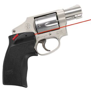 Crimson Trace Defender Series Accu-Grip Red Laser S&W J Frame Round Butt Revolver 1x 1/3N Lithium Battery Polymer Body Black DS-124