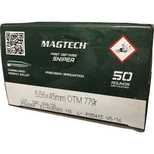 Magtech First Defense Sniper 5.56 NATO Ammunition 50 Rounds HPBT 77 Grains 556C