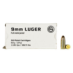 GECO 9mm Luger Ammunition 50 Rounds 124 Grain Full Metal Jacket