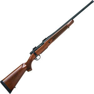 "Mossberg Patriot Walnut .450 BM Bolt Action Rifle 20"" Threaded Barrel 4 Rounds Walnut Stock Matte Blued Finish"