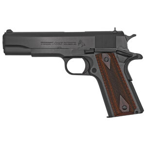 "Colt Classic 1911 Series 70 Government Model .45 ACP Semi Auto Pistol 5"" Barrel 7 Round Fixed Sights Rosewood Grips Blue Finish"