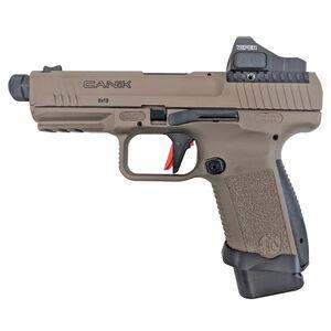 "Canik TP9SF Elite Combat 9mm Luger Semi Auto Pistol 4.78"" Threaded Barrel 15 Rounds Vortex Viper Red Dot Sight Picatinny Rail Polymer Frame Flat Dark Earth"