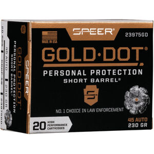 Speer Gold Dot Short Barrel Personal Protection .45 ACP Ammunition 20 Rounds 230 Grain GDHP 820fps