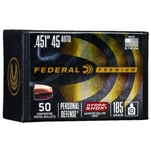 """Federal Hydra-Shok Bullets .45 Caliber .451"""" Diameter 185 Grain Hydra-Shok Jacketed Hollow Point Projectile 50 Count Per Box"""