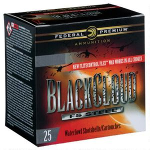 "Federal Black Cloud FS Steel 12 Gauge Ammunition 25 Rounds 3"" BB Steel Shot 1-1/2 Ounce Flitecontrol Flex Wad 1450fps"