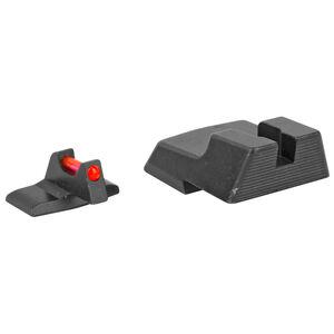 Trijicon Fiber Optic Sight Set Fits HK45/HK 45 Tactical Red Fiber Front/Blacked Out Rear Steel Housing Matte Black Finish