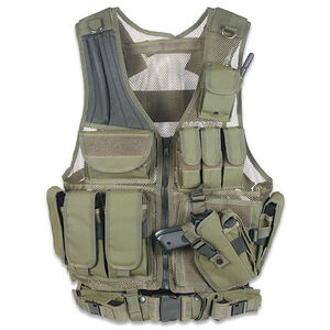 Leapers UTG Law Enforcement Unit Vest Right Handed Includes Mag Pouches Holster Gear Pouches Pistol Belt OD Green