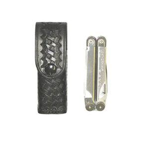 Stallion Leather Leatherman Wave Multi-Tool Holder Plain Black Leather Belt Slide Black Snap LWM-2