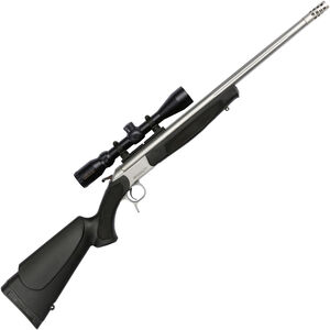 """CVA Scout Outfit Single Shot Break Action Rifle .450 Bushmaster 25"""" Fluted Stainless Steel Barrel Konus 3-9x32 Scope CrushZone Recoil Pad Synthetic Forend/Stock Matte Stainless Finish"""