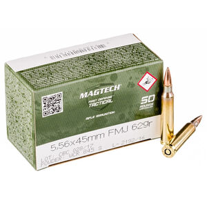 50 Rounds of Magtech .223/5.56 NATO Ammunition  FMJ 62 Grains 556B