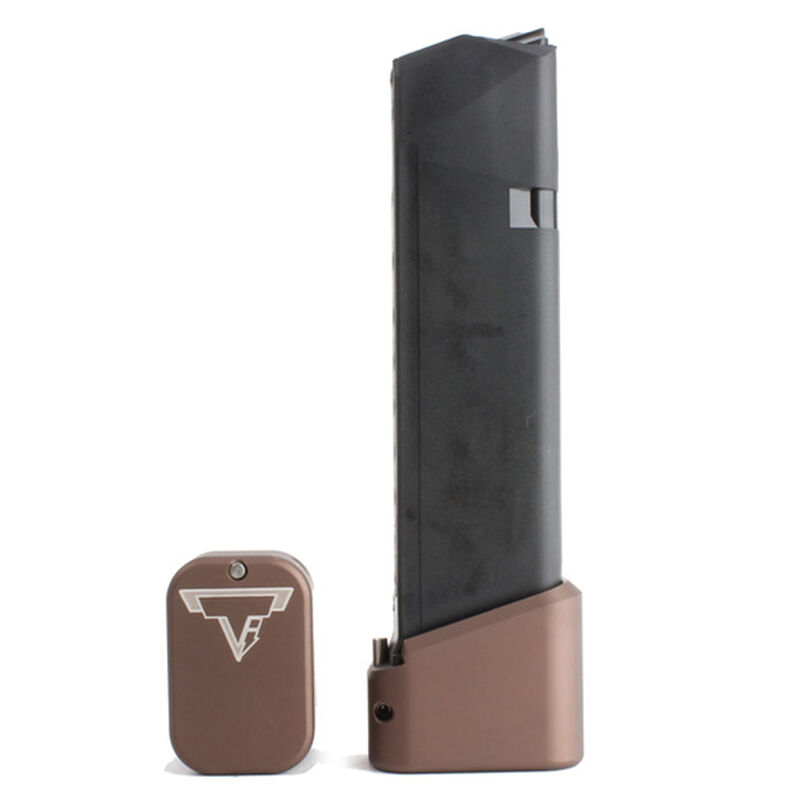 Taran Tactical Innovations Firepower Base Pad GLOCK 21 Magazine Extension +4 Capacity Billet Aluminum Anodized Coyote Bronze Finish