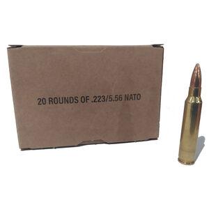 Top Quality .223/5.56 NATO Ammunition 20 Rounds 55 Grain FMJ