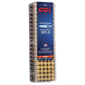 CCI Clean-22 Sub Sonic .22 Long Rifle Ammunition 100 Rounds 40 Grain Polymer Blue Coated Lead Rounds Nose