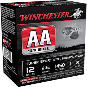 "Winchester AA Super Sport 12 Gauge Ammunition 250 Rounds 2.75"" #8 Steel 1 Ounce AASCL12S8"
