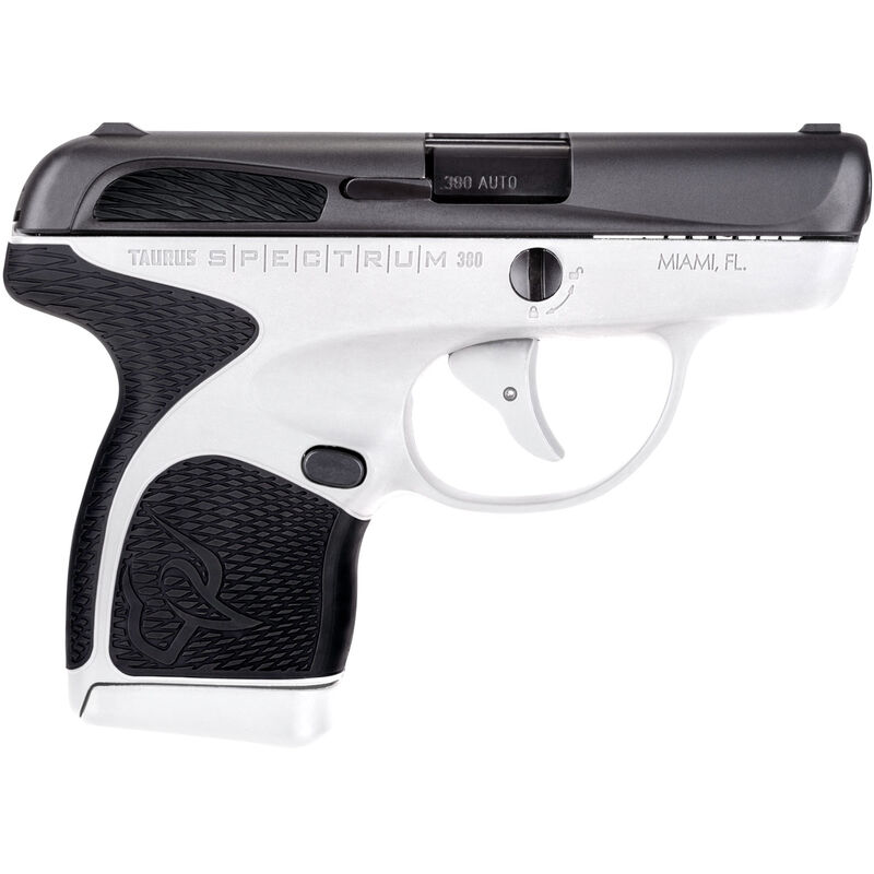"Taurus Spectrum .380 ACP Semi Auto Pistol 2.8"" Barrel 6 Rounds White Polymer Frame with Black Inserts Black Finish"