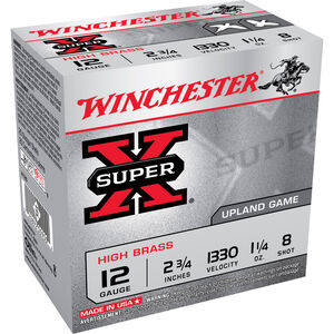 "Winchester Super X Game Load 12 Gauge Ammunition 250 Rounds 2 3/4"" #8 Lead 1 1/4 Ounce X128"